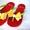 Красные с бело-желтым бантом Силиконовые женские шлепанцы, вьетнамки. #1111580