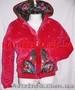Куртка теплая из велюра со стразами и платочными вставками в стиле Лурдес