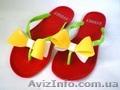 Красные с бело-желтым бантом Силиконовые женские шлепанцы,вьетнамки., Объявление #1111580