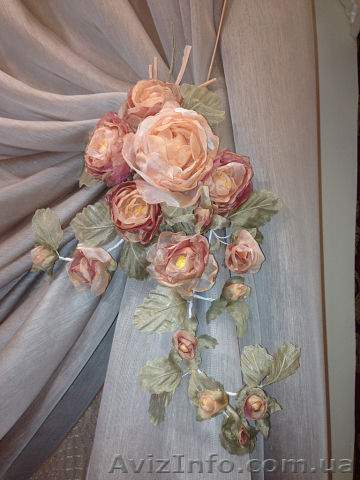 Цветы из ткани своими руками для штор
